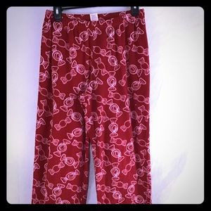 Holiday Pajama Bottoms Women's Candy Print Small